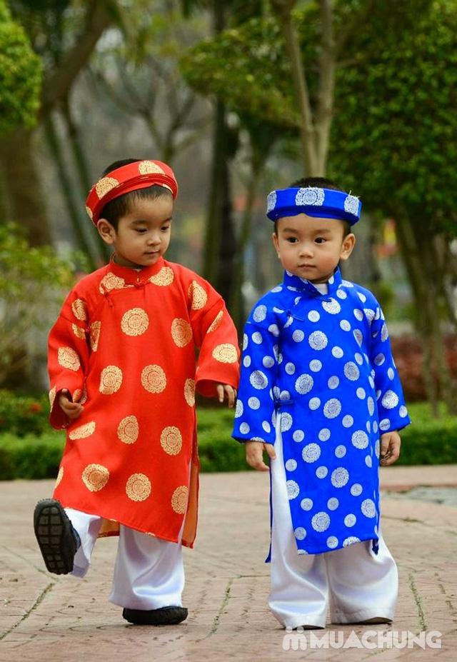 Khăn xếp gấm áo dài cho bé - 1